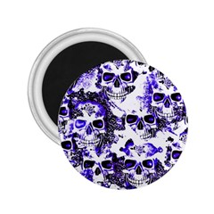 Cloudy Skulls White Blue 2.25  Magnets