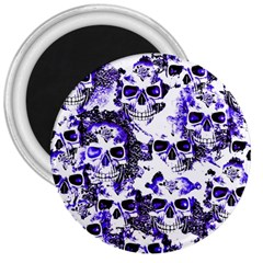 Cloudy Skulls White Blue 3  Magnets