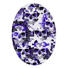 Cloudy Skulls White Blue Ornament (Oval)