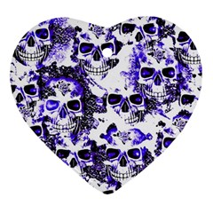 Cloudy Skulls White Blue Ornament (Heart)