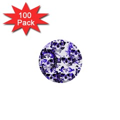 Cloudy Skulls White Blue 1  Mini Buttons (100 pack)