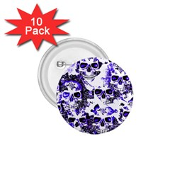 Cloudy Skulls White Blue 1.75  Buttons (10 pack)
