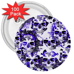 Cloudy Skulls White Blue 3  Buttons (100 pack)