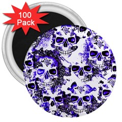 Cloudy Skulls White Blue 3  Magnets (100 pack)