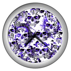 Cloudy Skulls White Blue Wall Clocks (Silver)