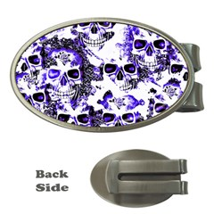 Cloudy Skulls White Blue Money Clips (Oval)