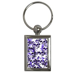 Cloudy Skulls White Blue Key Chains (Rectangle)