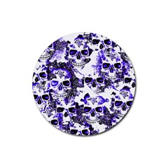Cloudy Skulls White Blue Rubber Round Coaster (4 pack)