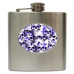 Cloudy Skulls White Blue Hip Flask (6 oz)