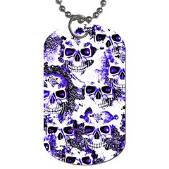 Cloudy Skulls White Blue Dog Tag (Two Sides)