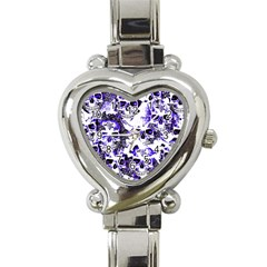 Cloudy Skulls White Blue Heart Italian Charm Watch