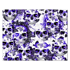 Cloudy Skulls White Blue Rectangular Jigsaw Puzzl