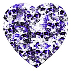 Cloudy Skulls White Blue Jigsaw Puzzle (Heart)