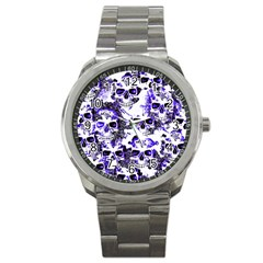 Cloudy Skulls White Blue Sport Metal Watch