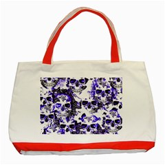 Cloudy Skulls White Blue Classic Tote Bag (Red)