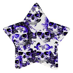 Cloudy Skulls White Blue Star Ornament (Two Sides)