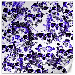 Cloudy Skulls White Blue Canvas 12  x 12
