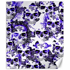 Cloudy Skulls White Blue Canvas 20  x 24