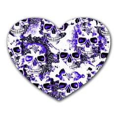 Cloudy Skulls White Blue Heart Mousepads