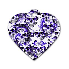 Cloudy Skulls White Blue Dog Tag Heart (Two Sides)