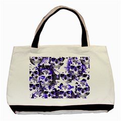 Cloudy Skulls White Blue Basic Tote Bag (Two Sides)