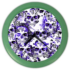 Cloudy Skulls White Blue Color Wall Clocks
