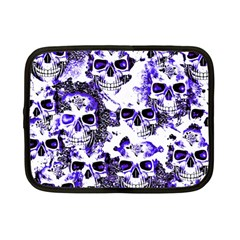 Cloudy Skulls White Blue Netbook Case (Small)