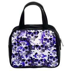 Cloudy Skulls White Blue Classic Handbags (2 Sides)