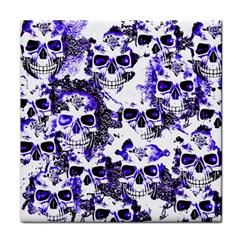 Cloudy Skulls White Blue Face Towel