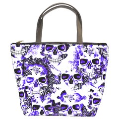 Cloudy Skulls White Blue Bucket Bags