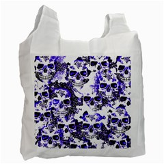 Cloudy Skulls White Blue Recycle Bag (Two Side)