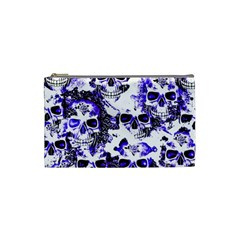 Cloudy Skulls White Blue Cosmetic Bag (Small)