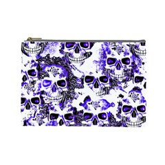 Cloudy Skulls White Blue Cosmetic Bag (Large)