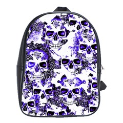 Cloudy Skulls White Blue School Bags(Large)