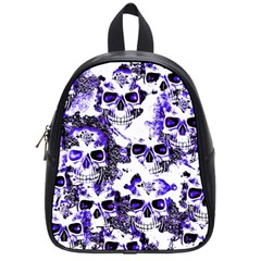 Cloudy Skulls White Blue School Bags (Small)