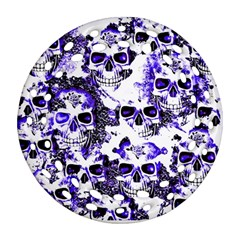 Cloudy Skulls White Blue Round Filigree Ornament (Two Sides)