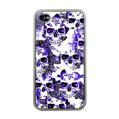Cloudy Skulls White Blue Apple iPhone 4 Case (Clear)