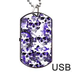 Cloudy Skulls White Blue Dog Tag USB Flash (One Side)
