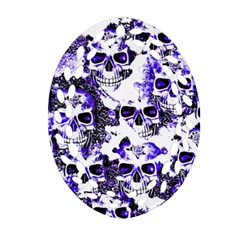Cloudy Skulls White Blue Oval Filigree Ornament (Two Sides)
