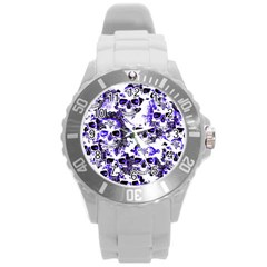 Cloudy Skulls White Blue Round Plastic Sport Watch (L)