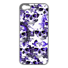 Cloudy Skulls White Blue Apple iPhone 5 Case (Silver)
