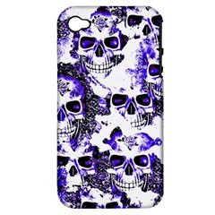 Cloudy Skulls White Blue Apple iPhone 4/4S Hardshell Case (PC+Silicone)