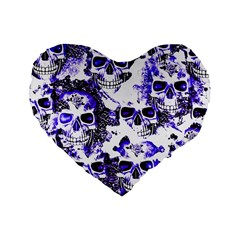 Cloudy Skulls White Blue Standard 16  Premium Heart Shape Cushions