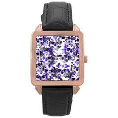 Cloudy Skulls White Blue Rose Gold Leather Watch