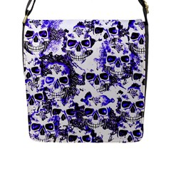 Cloudy Skulls White Blue Flap Messenger Bag (L)