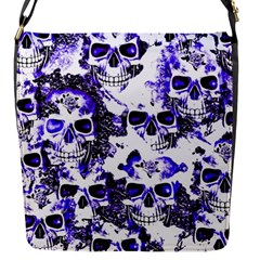 Cloudy Skulls White Blue Flap Messenger Bag (S)
