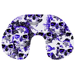 Cloudy Skulls White Blue Travel Neck Pillows