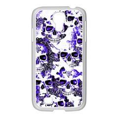 Cloudy Skulls White Blue Samsung GALAXY S4 I9500/ I9505 Case (White)