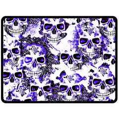 Cloudy Skulls White Blue Double Sided Fleece Blanket (Large)
