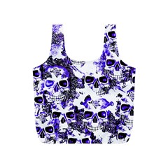 Cloudy Skulls White Blue Full Print Recycle Bags (S)